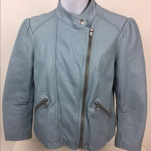 Rebecca Taylor Blue Leather Moto Jacket